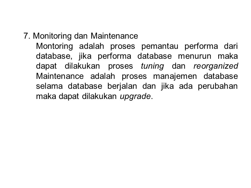 Monitoring dan Maintenance