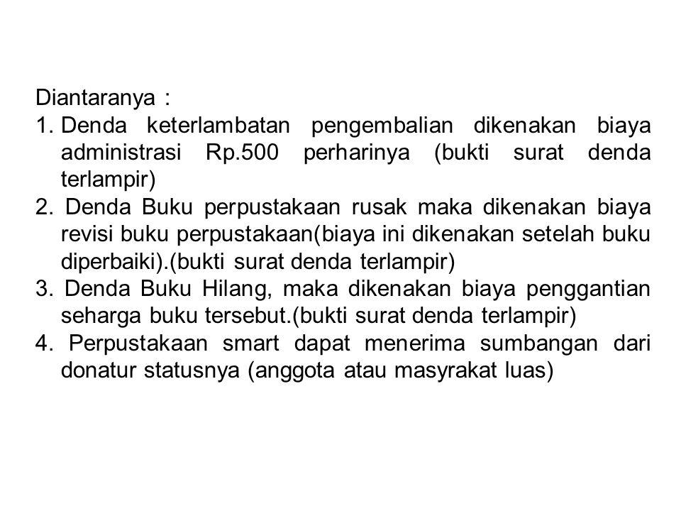 Diantaranya : Denda keterlambatan pengembalian dikenakan biaya administrasi Rp.500 perharinya (bukti surat denda terlampir)