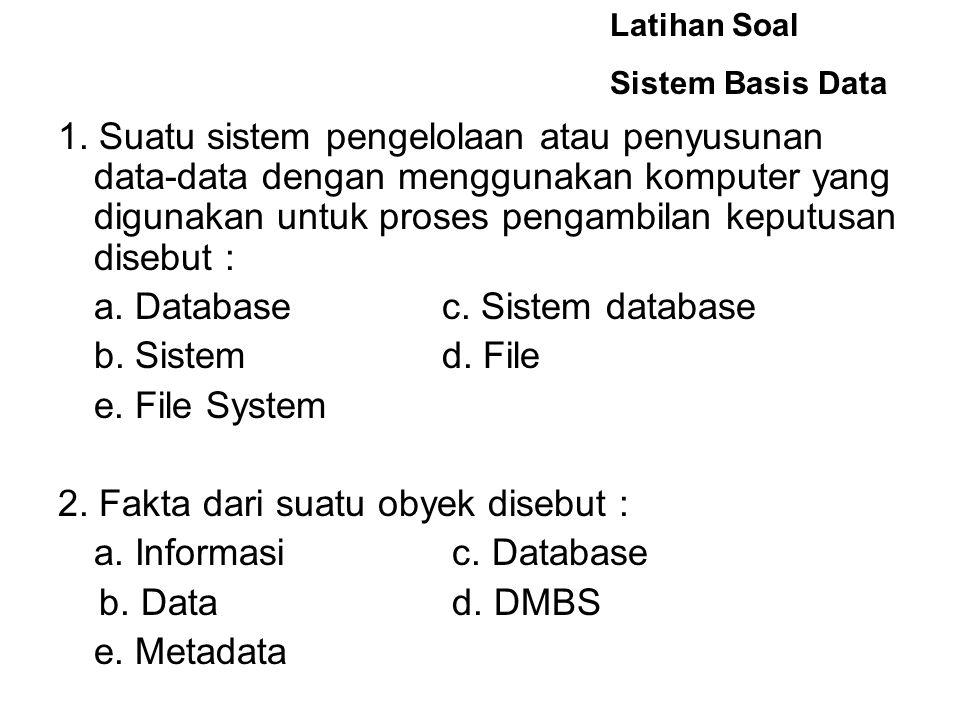 a. Database c. Sistem database b. Sistem d. File e. File System