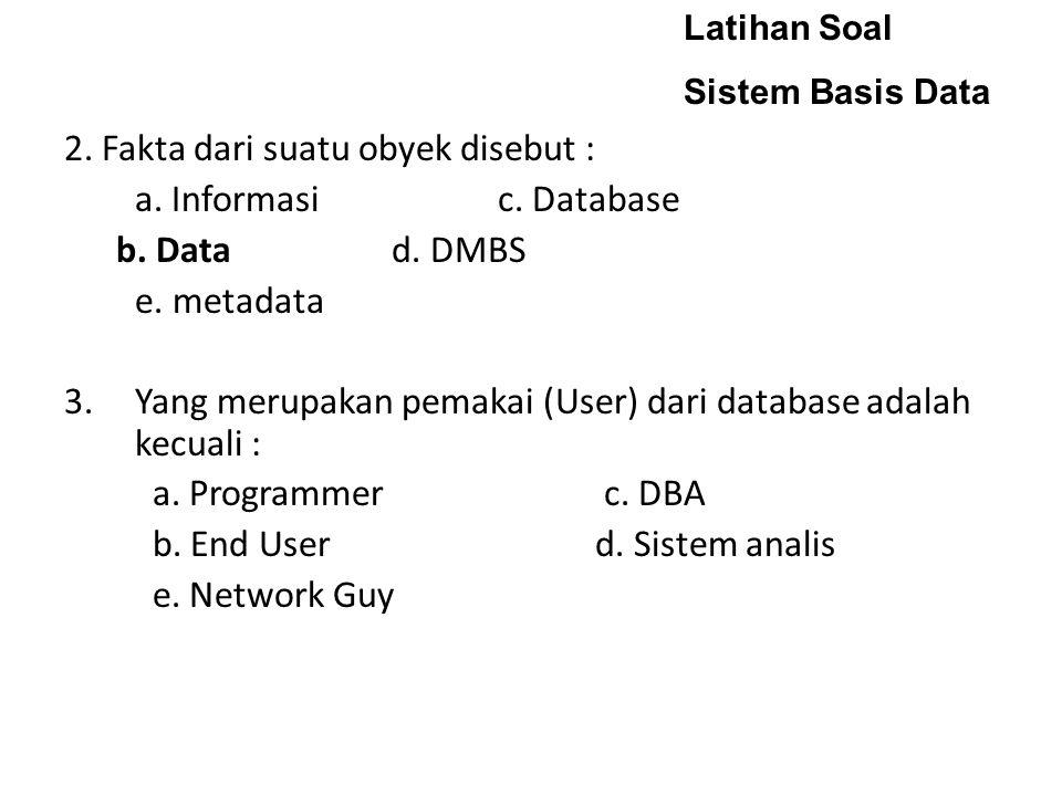 2. Fakta dari suatu obyek disebut : a. Informasi c. Database