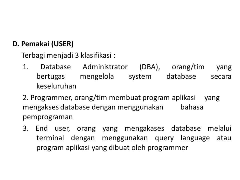 D. Pemakai (USER) Terbagi menjadi 3 klasifikasi : 1