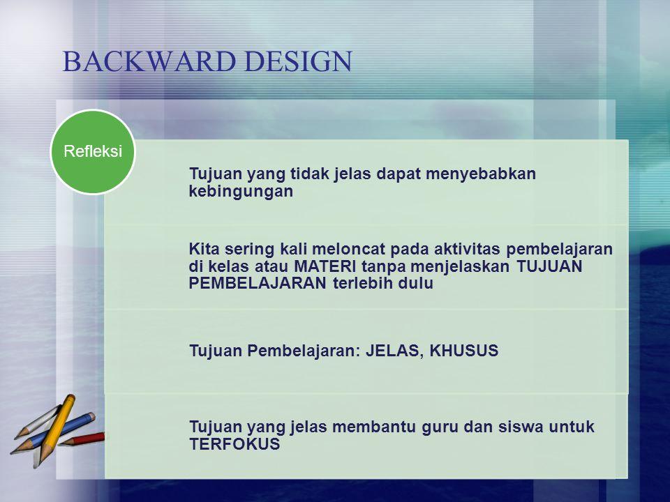 BACKWARD DESIGN Refleksi