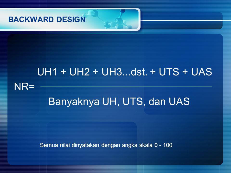 UH1 + UH2 + UH3...dst. + UTS + UAS NR= Banyaknya UH, UTS, dan UAS