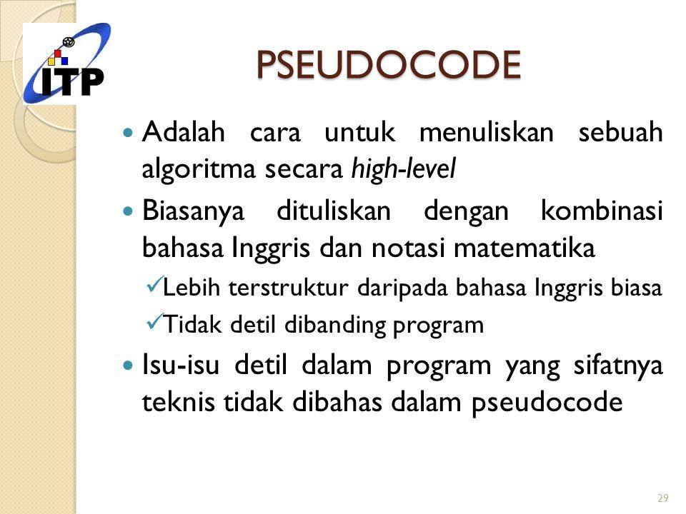 PSEUDOCODE Adalah cara untuk menuliskan sebuah algoritma secara high-level.