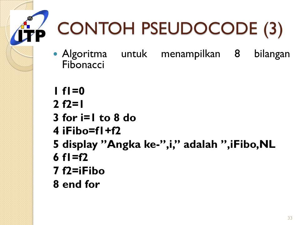 CONTOH PSEUDOCODE (3) Algoritma untuk menampilkan 8 bilangan Fibonacci