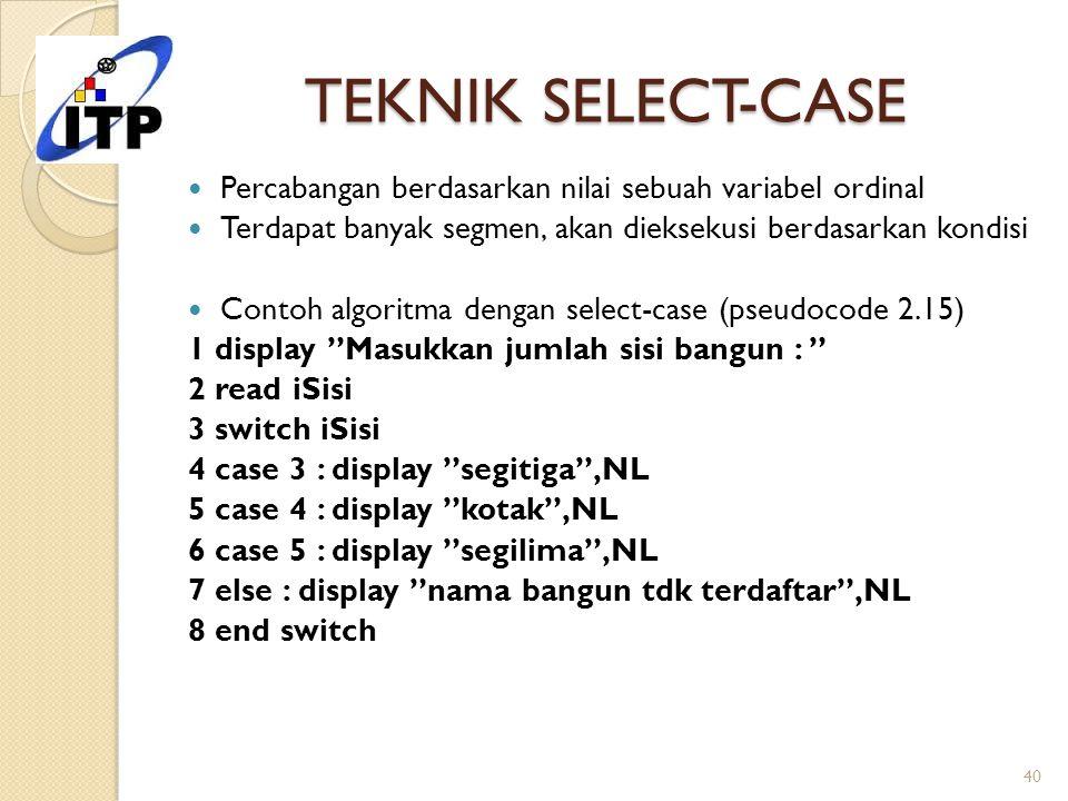 TEKNIK SELECT-CASE Percabangan berdasarkan nilai sebuah variabel ordinal. Terdapat banyak segmen, akan dieksekusi berdasarkan kondisi.