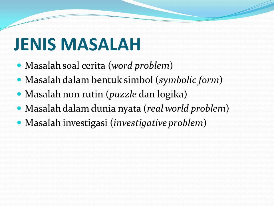 JENIS MASALAH Masalah soal cerita (word problem)