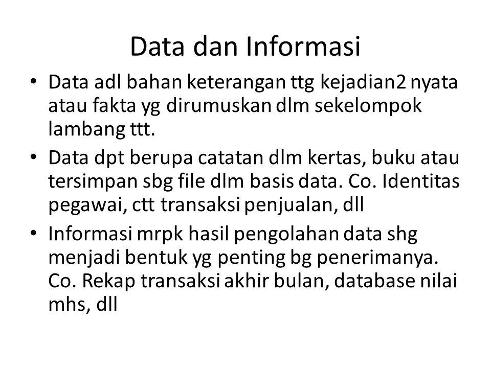 Data dan Informasi Data adl bahan keterangan ttg kejadian2 nyata atau fakta yg dirumuskan dlm sekelompok lambang ttt.