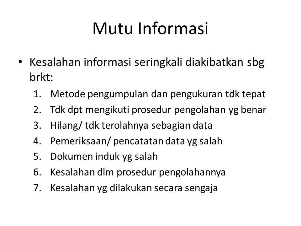 Mutu Informasi Kesalahan informasi seringkali diakibatkan sbg brkt: