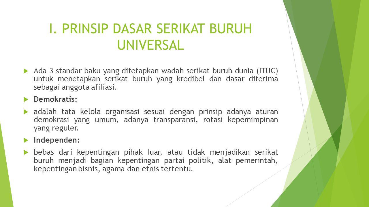 I. PRINSIP DASAR SERIKAT BURUH UNIVERSAL