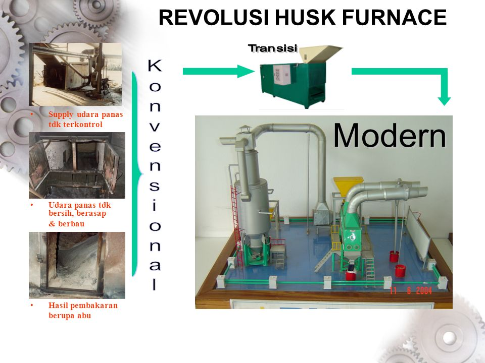 REVOLUSI HUSK FURNACE Modern K o n v e s i a l Supply udara panas