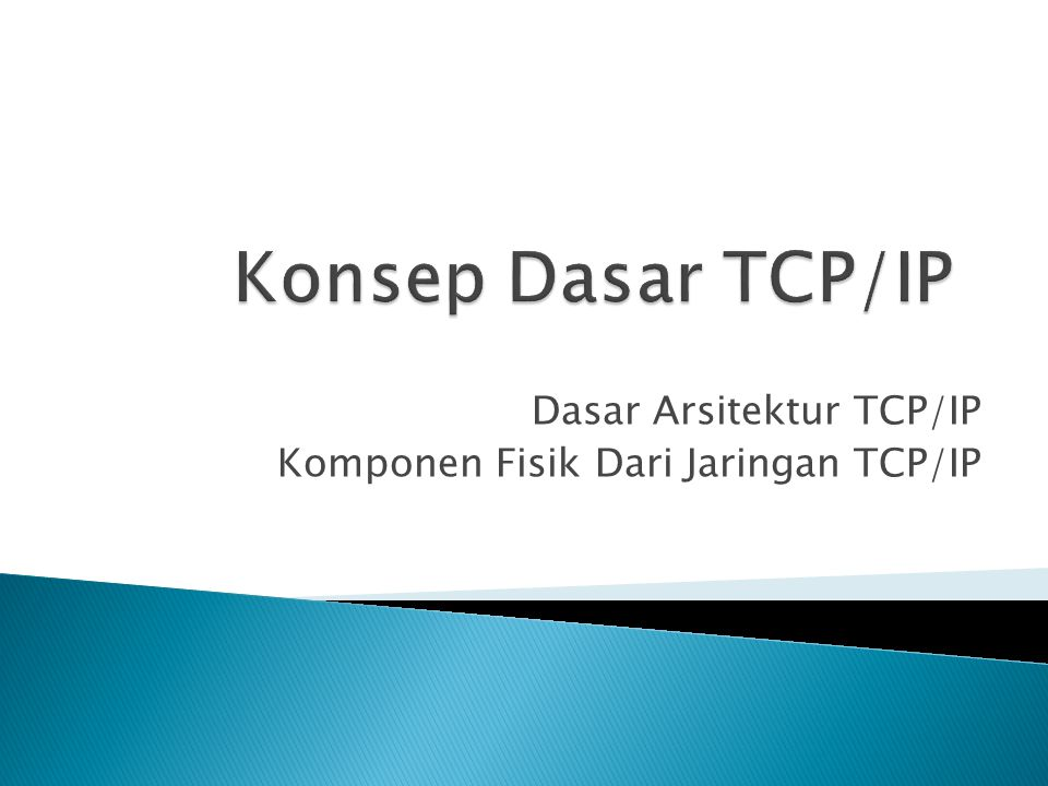 Dasar Arsitektur TCP/IP Komponen Fisik Dari Jaringan TCP/IP
