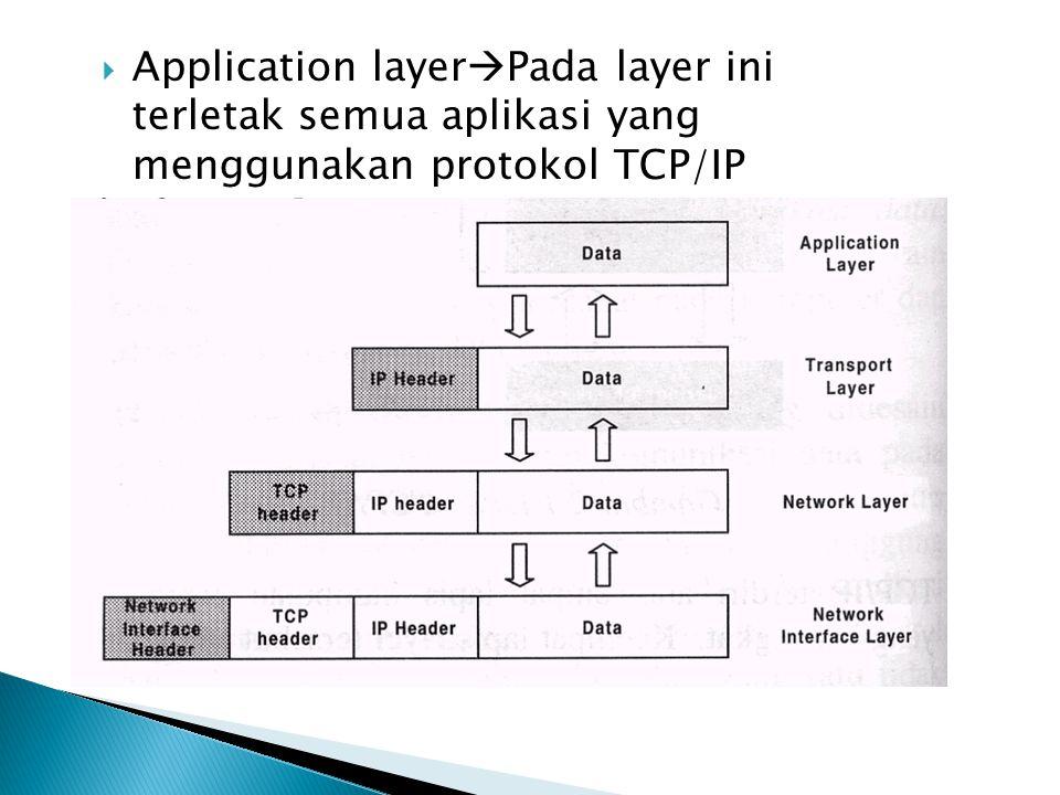Application layerPada layer ini terletak semua aplikasi yang menggunakan protokol TCP/IP