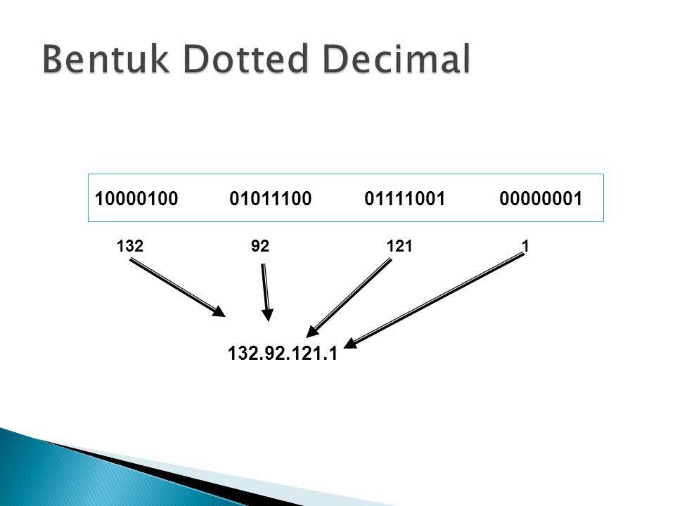 Bentuk Dotted Decimal 10000100 01011100 01111001 00000001 132 92 121 1 132.92.121.1