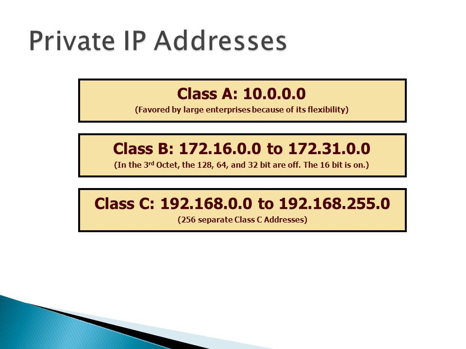 Private IP Addresses Class A: 10.0.0.0