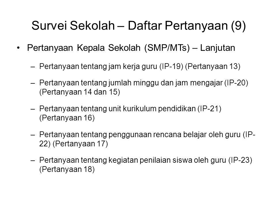 Survei Sekolah – Daftar Pertanyaan (9)