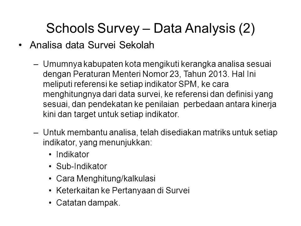 Schools Survey – Data Analysis (2)