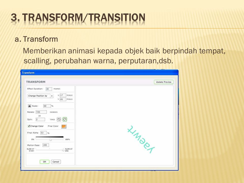 3. Transform/Transition