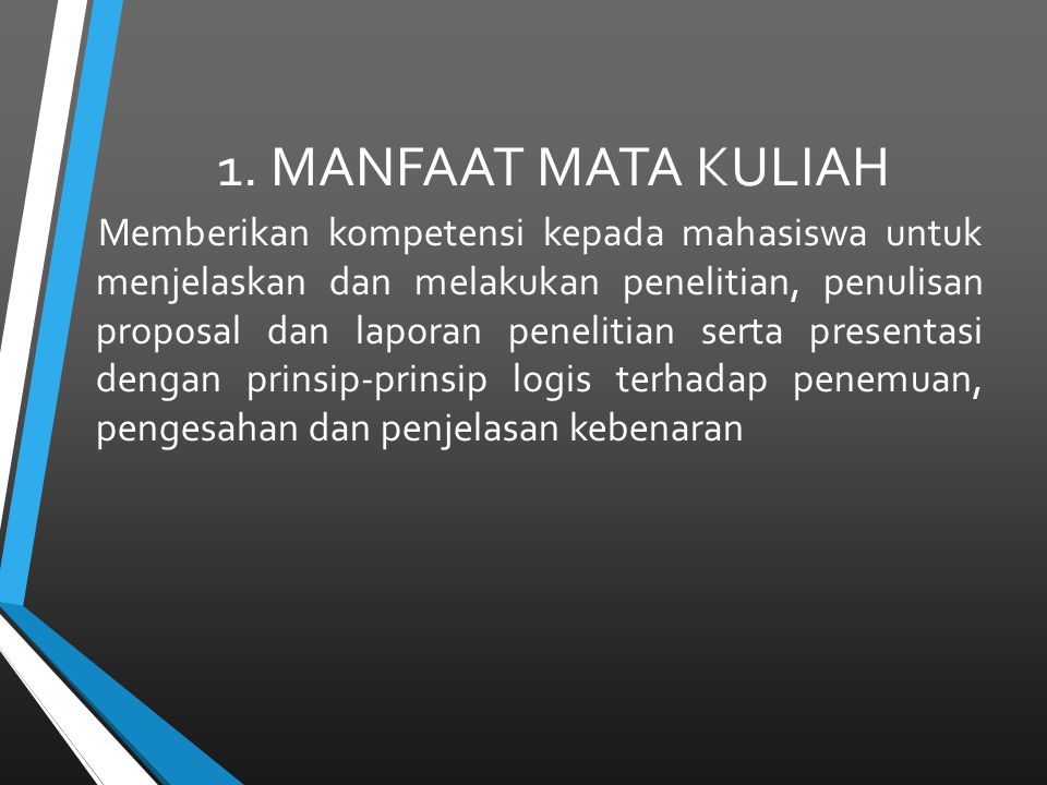 1. MANFAAT MATA KULIAH