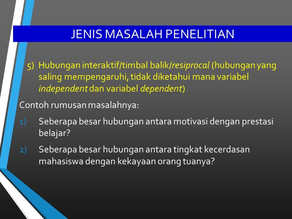 JENIS MASALAH PENELITIAN