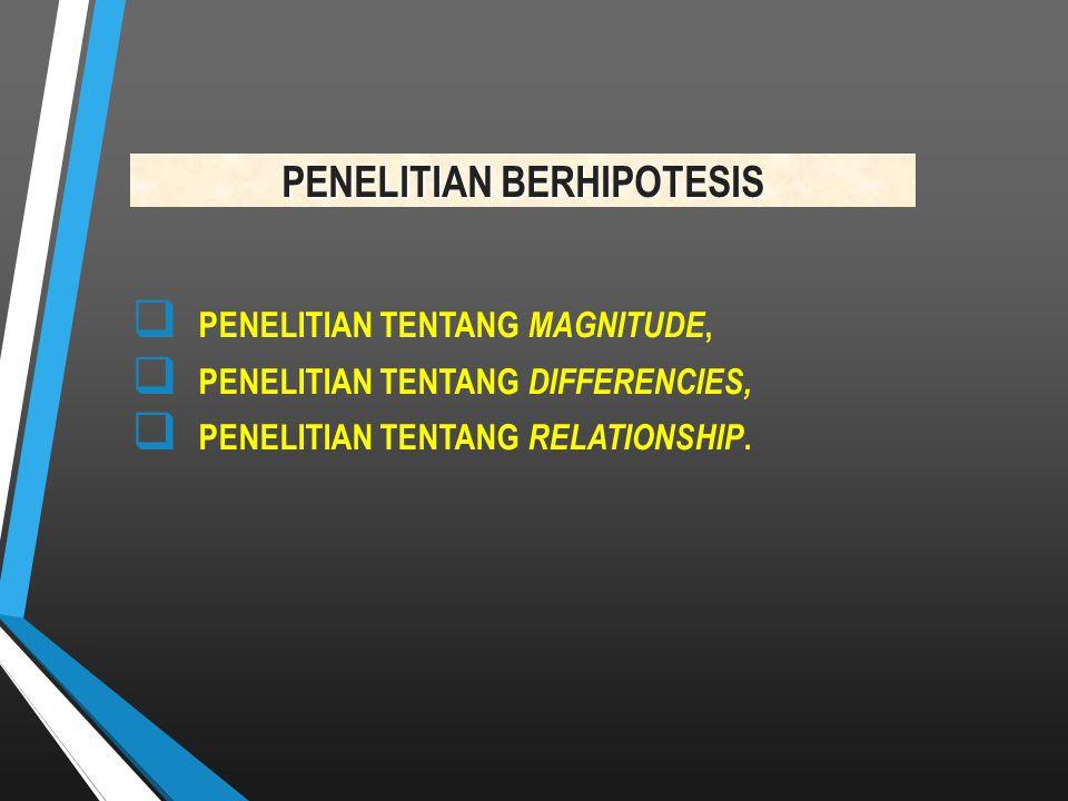PENELITIAN BERHIPOTESIS