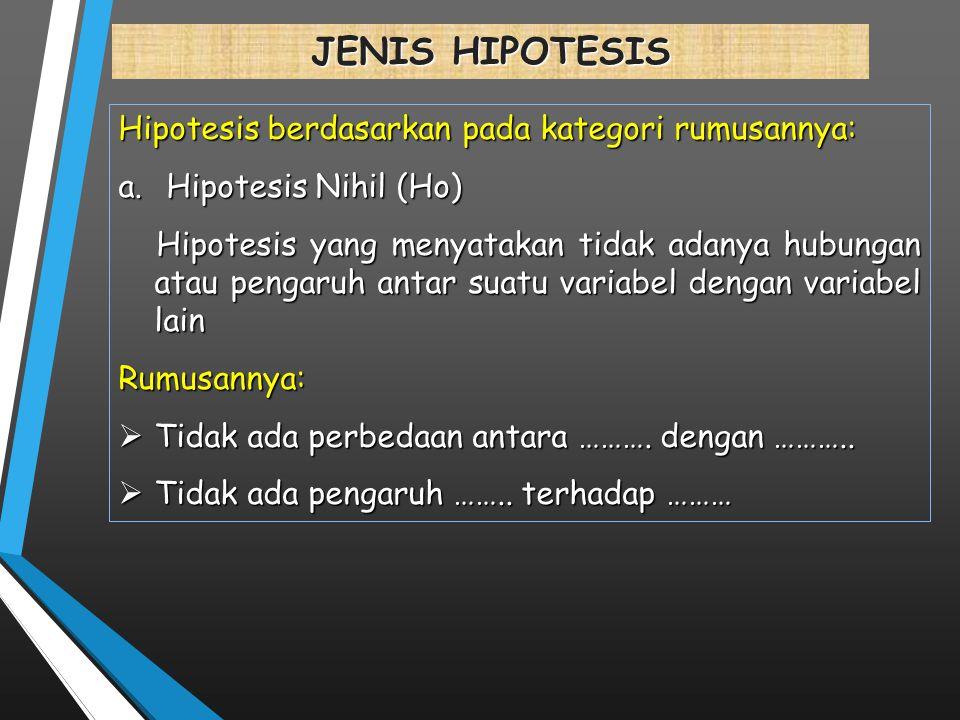 JENIS HIPOTESIS Hipotesis berdasarkan pada kategori rumusannya: