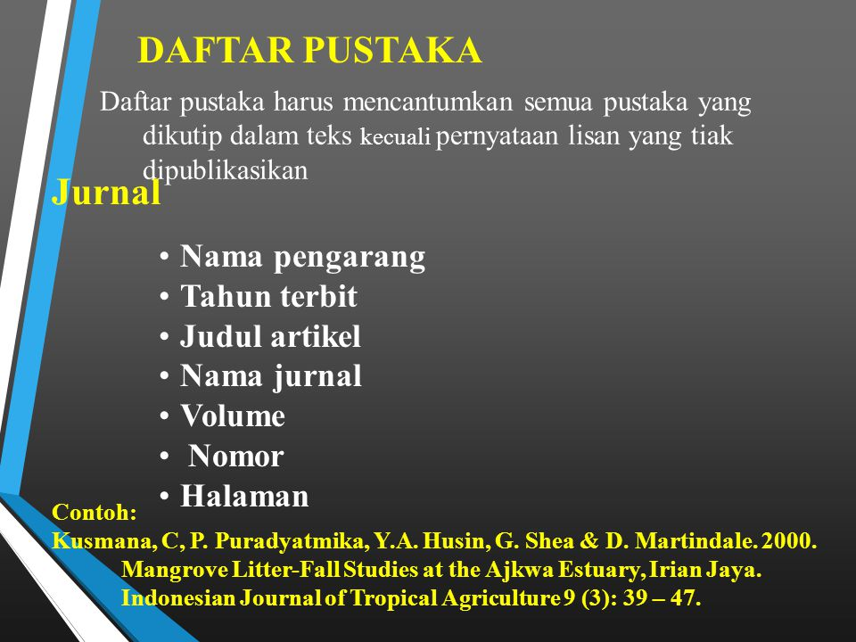 DAFTAR PUSTAKA Jurnal Nama pengarang Tahun terbit Judul artikel