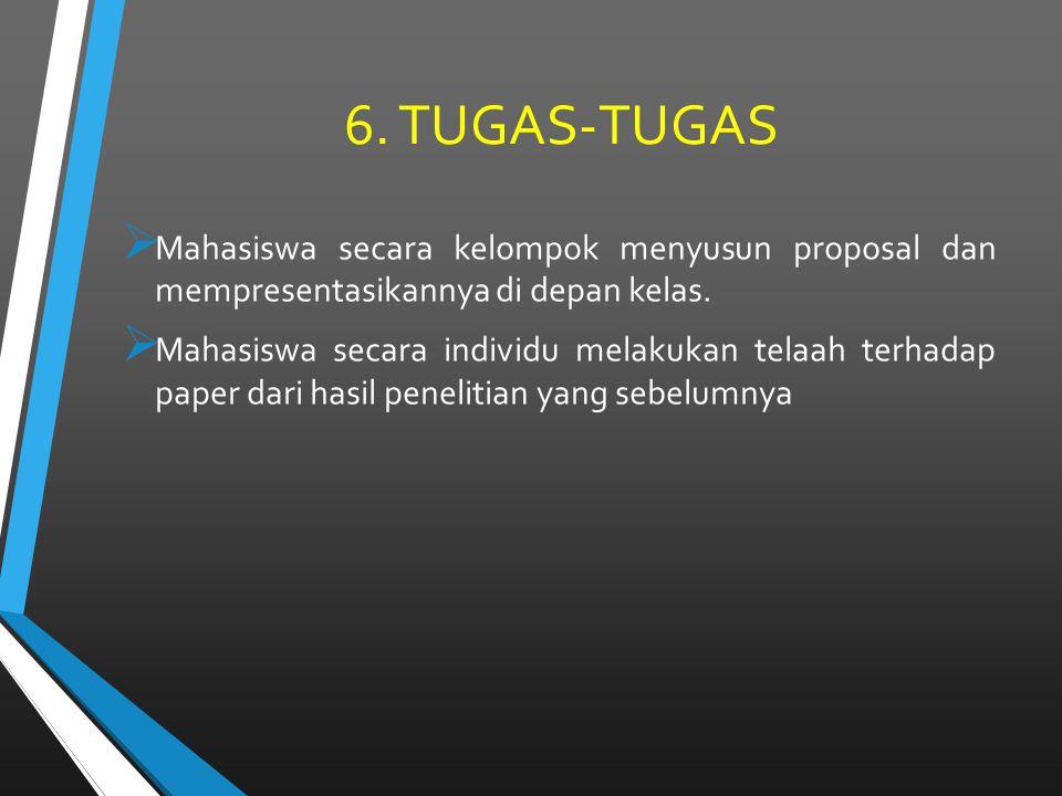 6. TUGAS-TUGAS Mahasiswa secara kelompok menyusun proposal dan mempresentasikannya di depan kelas.