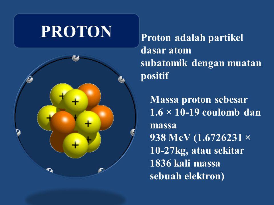 Proton adalah partikel dasar atom subatomik dengan muatan positif