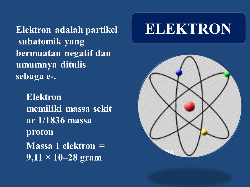 ELEKTRON Elektron adalah partikel subatomik yang bermuatan negatif dan umumnya ditulis sebaga e-.