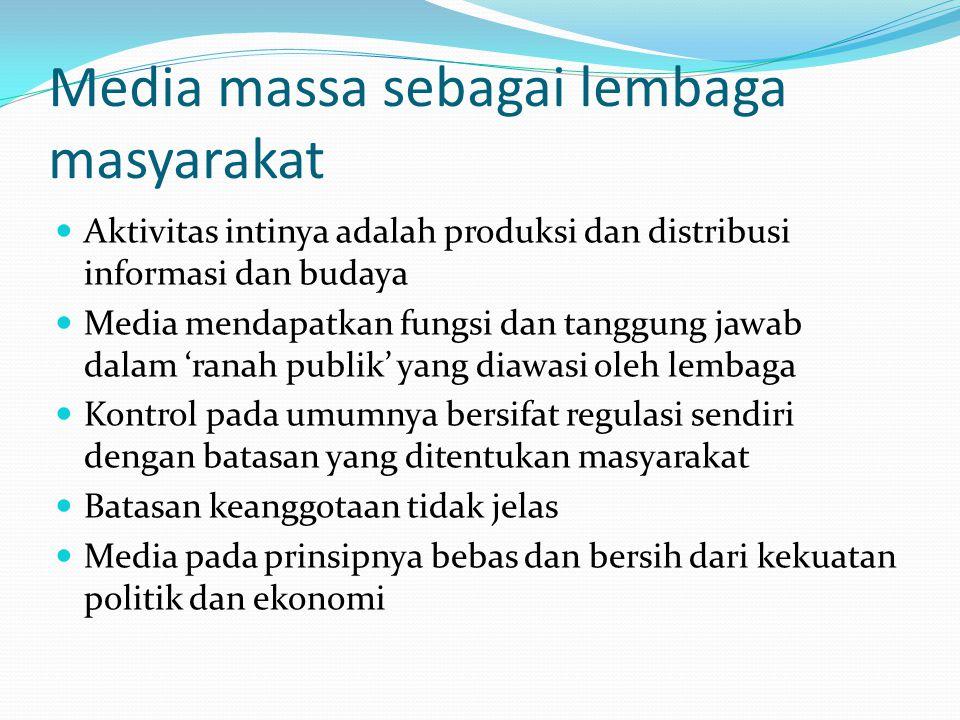 Media massa sebagai lembaga masyarakat