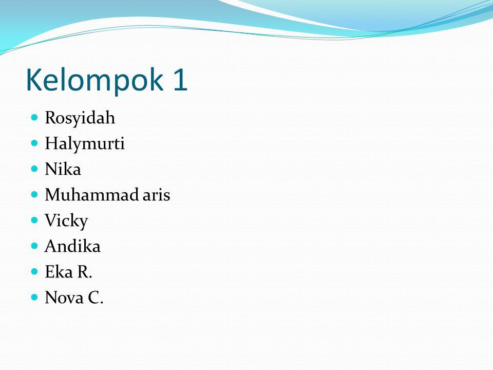 Kelompok 1 Rosyidah Halymurti Nika Muhammad aris Vicky Andika Eka R.