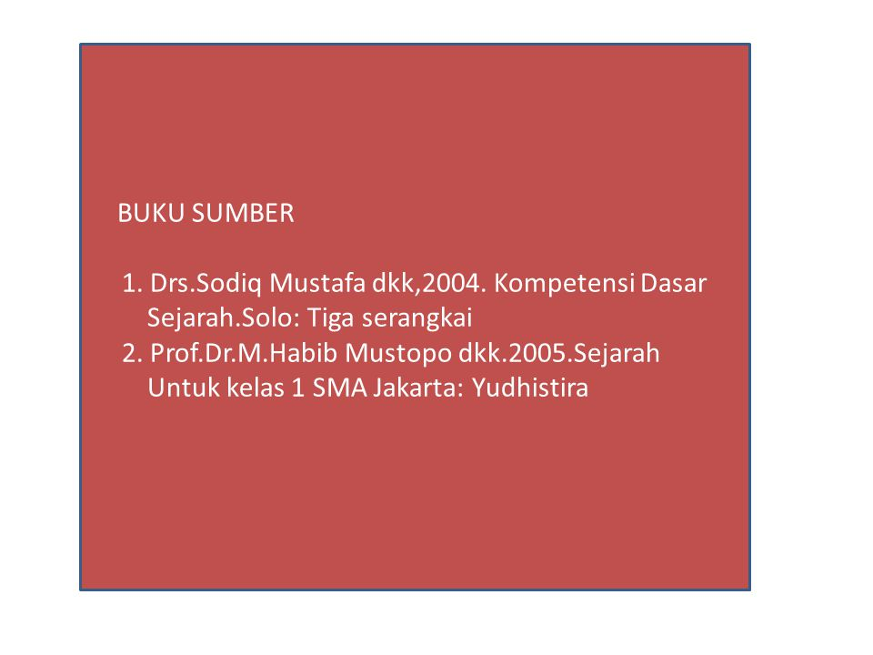 1. Drs.Sodiq Mustafa dkk,2004. Kompetensi Dasar
