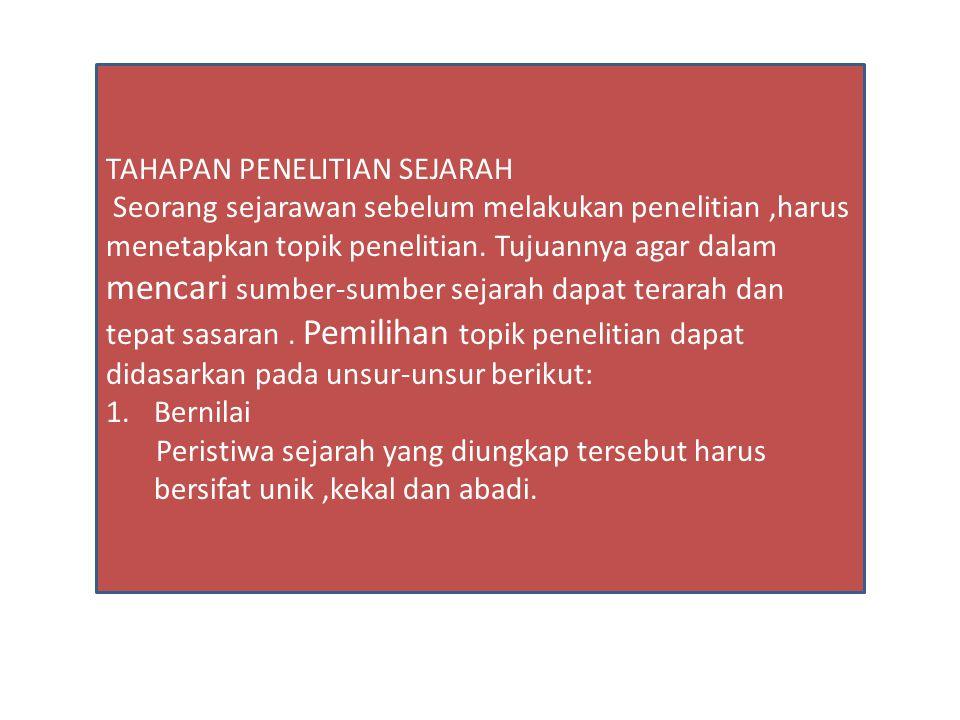 TAHAPAN PENELITIAN SEJARAH