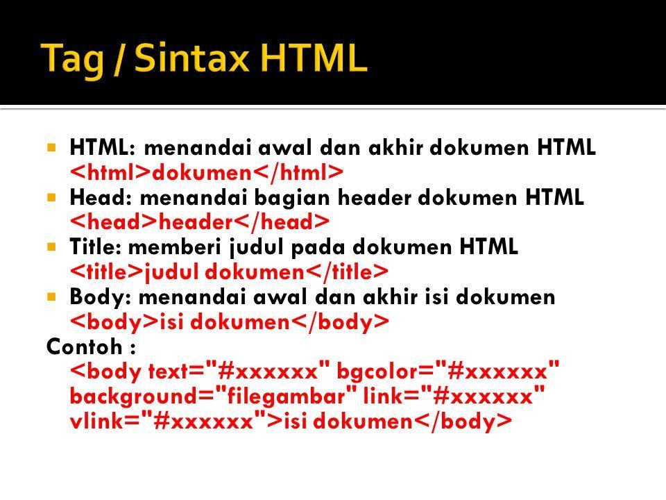 Tag / Sintax HTML HTML: menandai awal dan akhir dokumen HTML