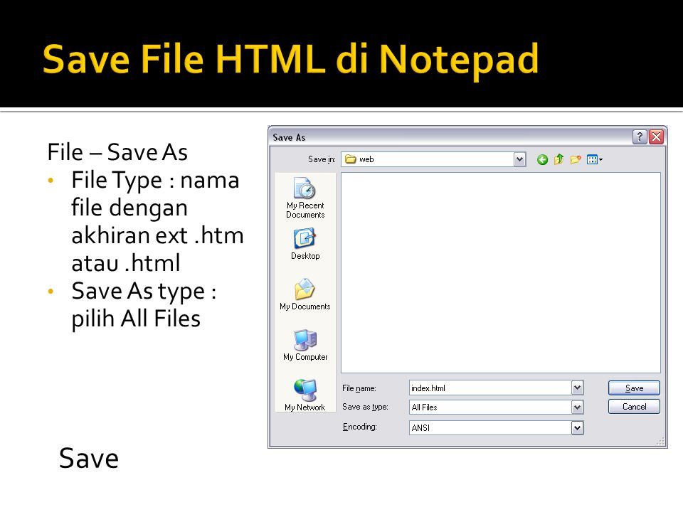 Save File HTML di Notepad