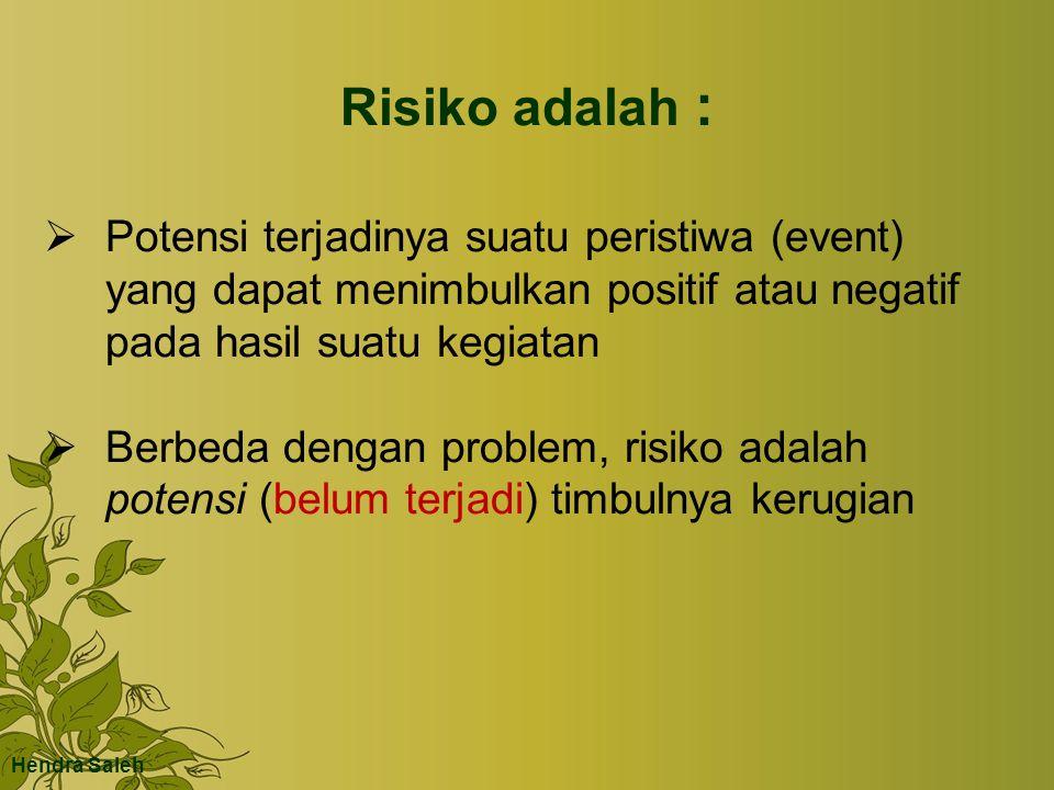 Risiko adalah : Potensi terjadinya suatu peristiwa (event) yang dapat menimbulkan positif atau negatif pada hasil suatu kegiatan.