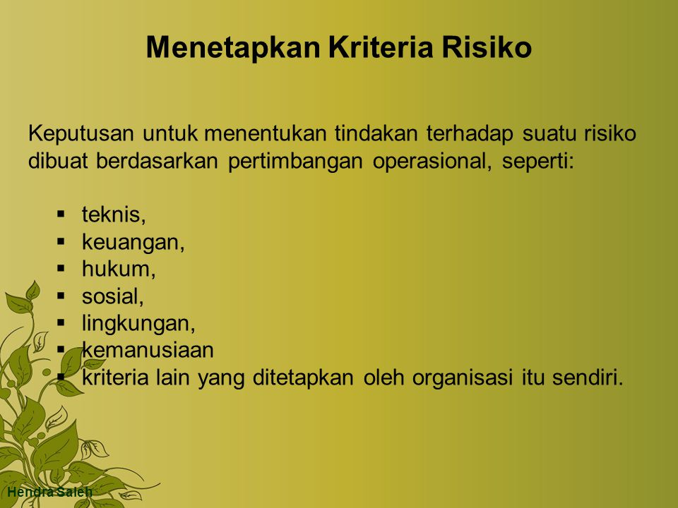 Menetapkan Kriteria Risiko