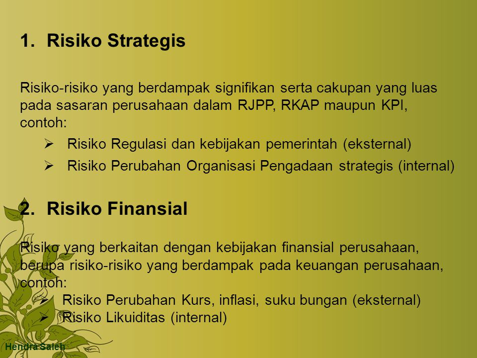 Risiko Strategis Risiko Finansial