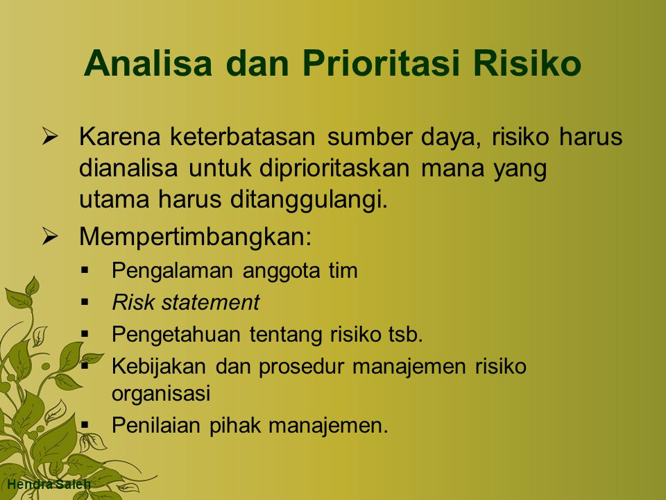 Analisa dan Prioritasi Risiko