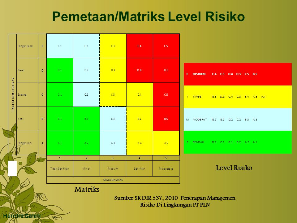 Pemetaan/Matriks Level Risiko