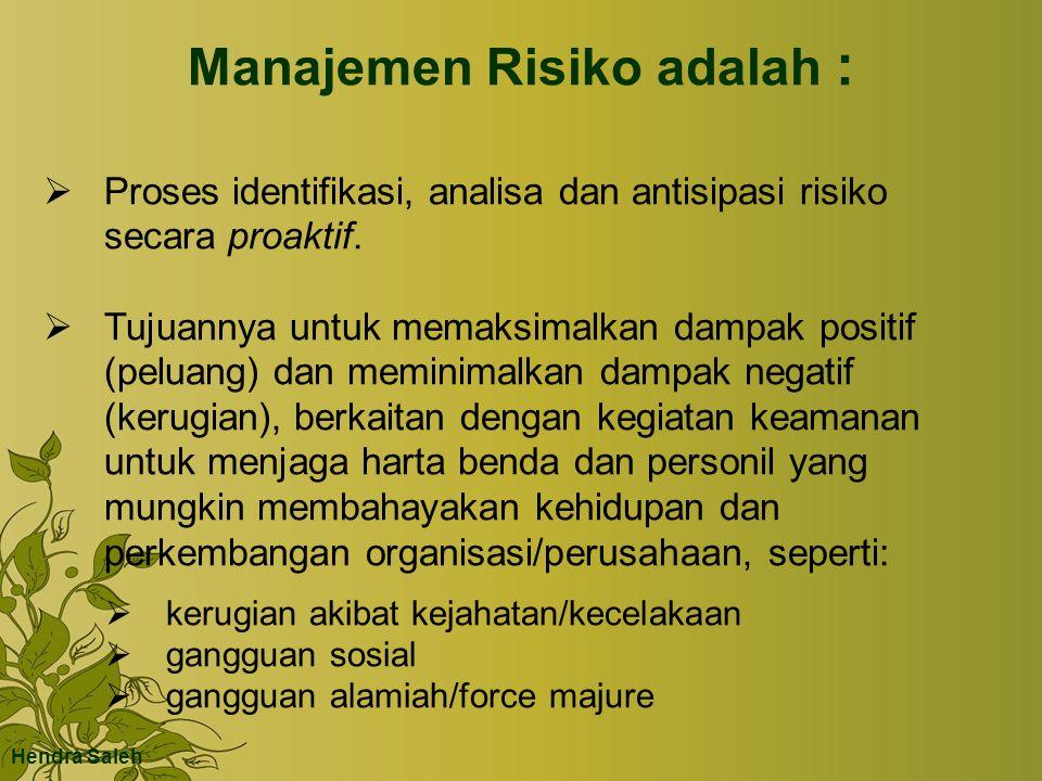 Manajemen Risiko adalah :