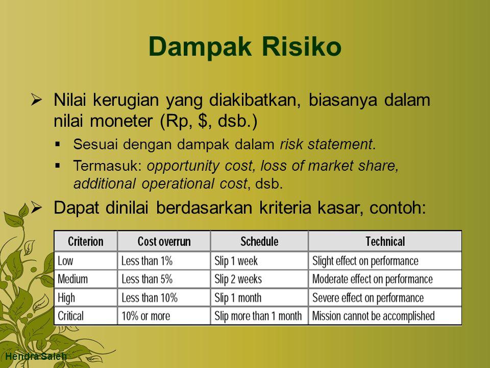 Dampak Risiko Nilai kerugian yang diakibatkan, biasanya dalam nilai moneter (Rp, $, dsb.) Sesuai dengan dampak dalam risk statement.