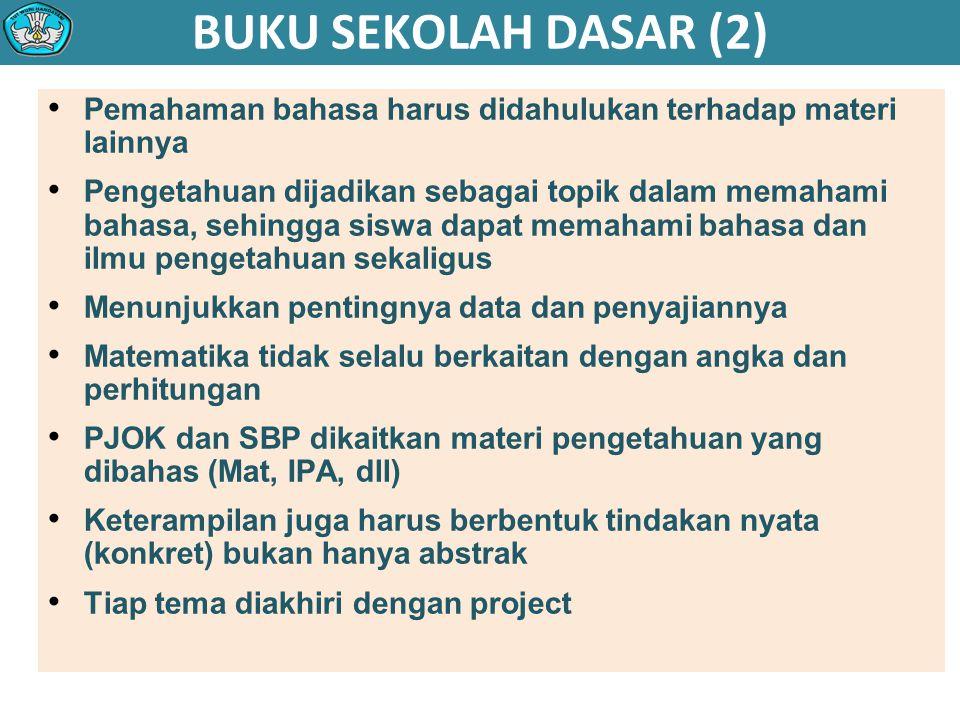 BUKU SEKOLAH DASAR (2) Pemahaman bahasa harus didahulukan terhadap materi lainnya.