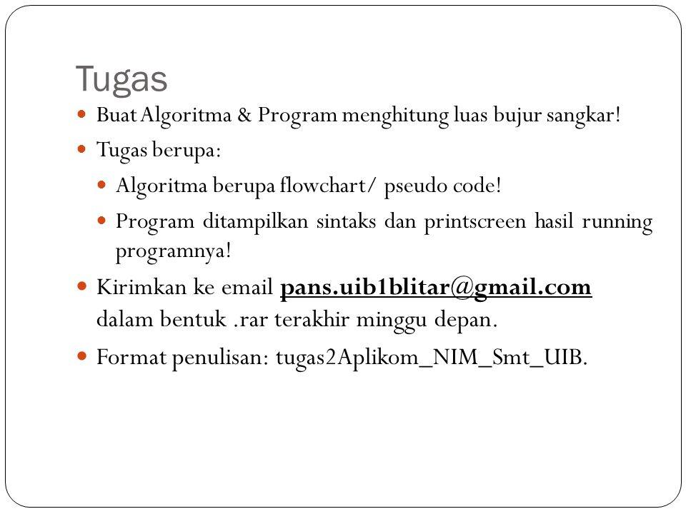 Tugas Buat Algoritma & Program menghitung luas bujur sangkar! Tugas berupa: Algoritma berupa flowchart/ pseudo code!