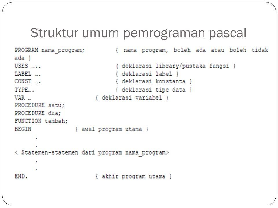 Struktur umum pemrograman pascal