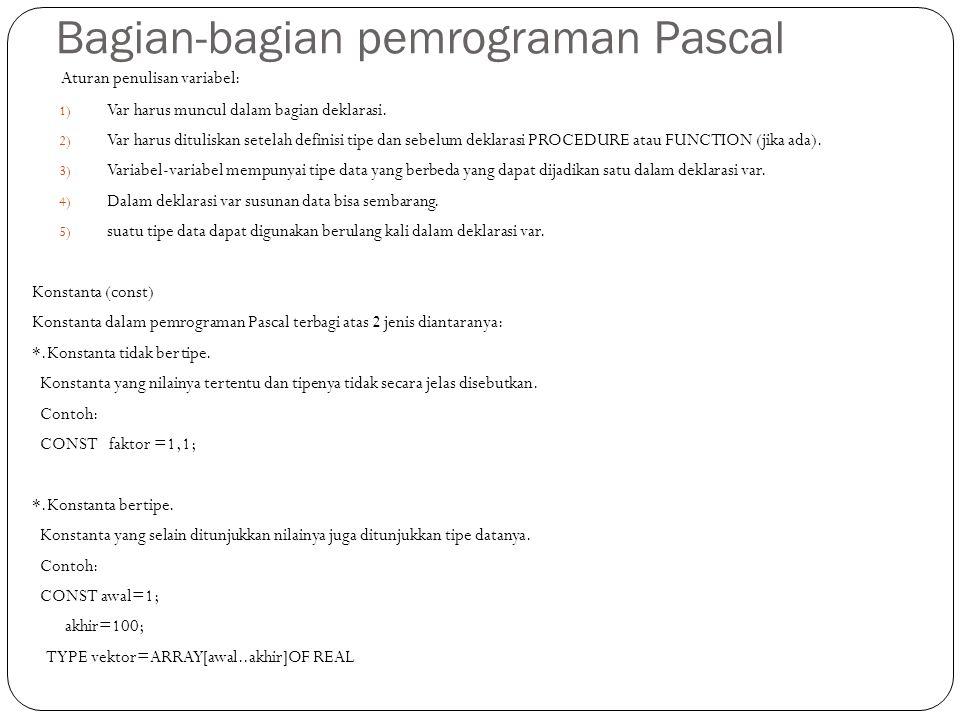 Bagian-bagian pemrograman Pascal