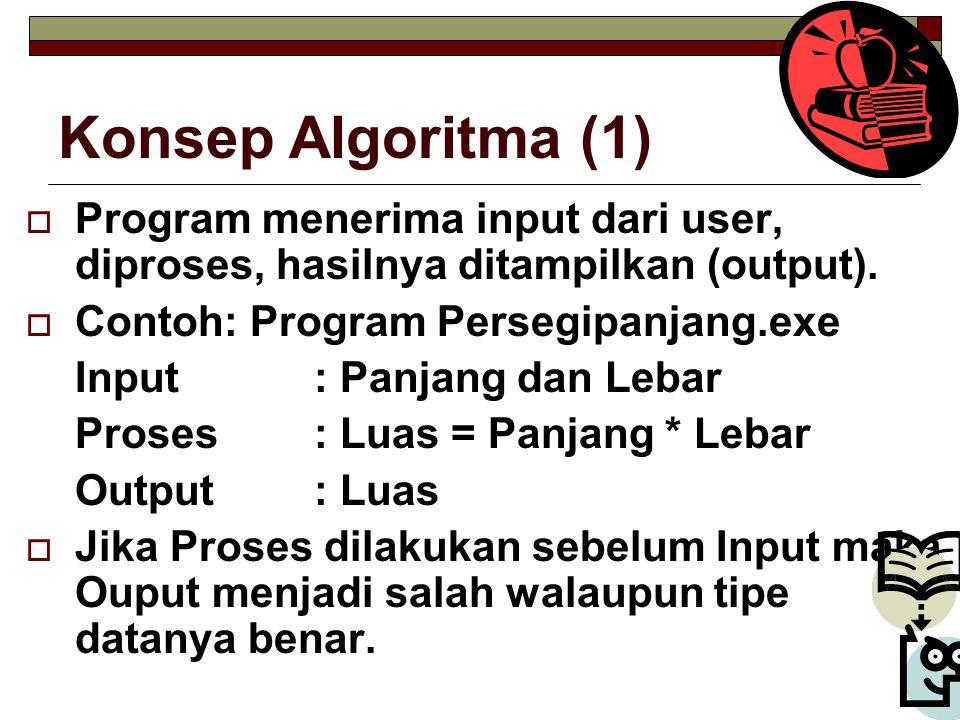 Konsep Algoritma (1) Program menerima input dari user, diproses, hasilnya ditampilkan (output). Contoh: Program Persegipanjang.exe.