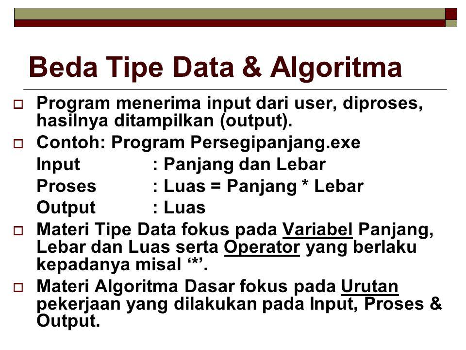 Beda Tipe Data & Algoritma