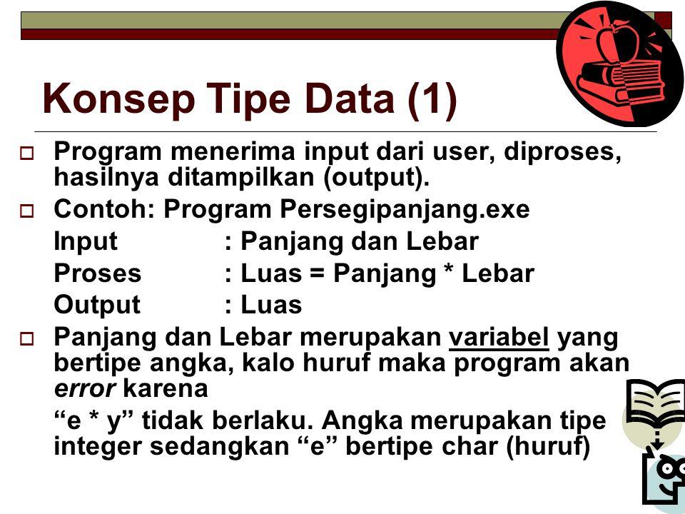 Konsep Tipe Data (1) Program menerima input dari user, diproses, hasilnya ditampilkan (output). Contoh: Program Persegipanjang.exe.